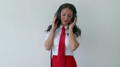 4k Beautiful Funky Sexy Rock Red Tie Girl With Headphones Dancing - Groovy Woman Stock Footage