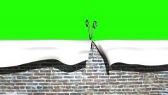 Scissors cut bricks vertical transition Stock Footage