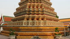 Pan Up of Colorful Temple Stupa - Bangkok Thailand - stock footage