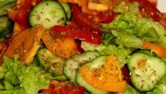 4k – Summer salad (healthy food) of fresh vegetables on plate 02 Stock Footage