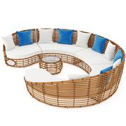 Sofa and table with rattan. 3D graphic - stock illustration