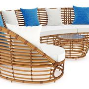 Rattan sofa end coffee table an close view. 3D graphic - stock illustration