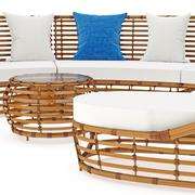 Rattan sofa in close view. 3D graphic - stock illustration