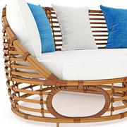 Rattan sofa with pillows zoomed view. 3D graphic Stock Illustration