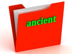 ancient - bright green letters on a gold folder on a white background - stock illustration