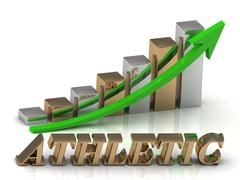 ATHLETIC- inscription of gold letters and Graphic growth and gold arrows on w Stock Illustration