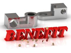 BENEFIT- inscription of red letters and silver details on white background Stock Illustration