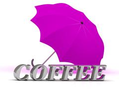COFFEE- inscription of silver letters and umbrella on white background.. Stock Illustration