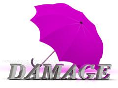DAMAGE- inscription of silver letters and umbrella on white background.. - stock illustration