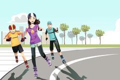 Rollerblading teenagers - stock illustration
