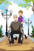 Grandson and grandfather - stock illustration