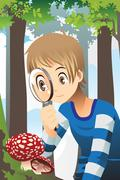 Boy with magnifying glass Stock Illustration