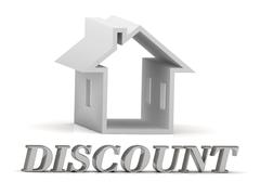 Stock Illustration of DISCOUNT- inscription of silver letters and white house on white background