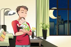 Father and son at home - stock illustration