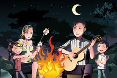 Family having a bonfire - stock illustration
