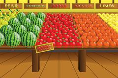 Stock Illustration of Grocery store produce aisle