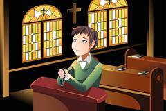 Christian praying - stock illustration