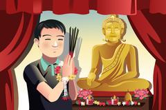 Buddhist man Stock Illustration