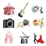 Arts entertainment icons - stock illustration