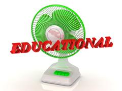 EDUCATIONAL- Green Fan propeller and bright color letters on a white backgrou - stock illustration