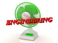 ENGINEERING- Green Fan propeller and bright color letters on a white backgrou - stock illustration