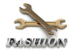 FASHION- inscription of metal letters and 2 keys on white background Stock Illustration