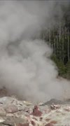 Small eruption Steamboat Geyser Norris Basin Yellowstone vertical HD 071 Stock Footage