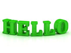 HELLO - inscription of bend green letters  on white background - stock illustration
