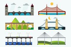 Bridge silhouette vector illustration set Stock Illustration