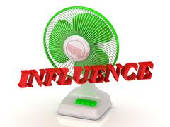 INFLUENCE- Green Fan propeller and bright color letters on a white background Stock Illustration