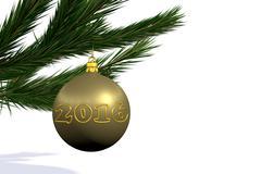 gold Christmas decoration ball - stock illustration