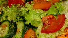 4k – Summer salad (healthy food) of fresh vegetables on plate 03 Stock Footage
