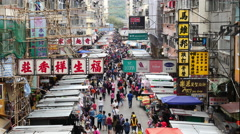 Stock Video Footage of Pan Down of Busy Mong Kok Market - Hong Kong