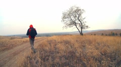 Man traveler with a backpack in the autumn is on the way to nature is a solitary Stock Footage