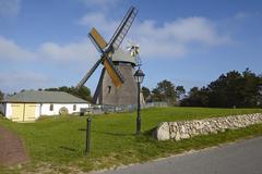 Nebel (Amrum) - Wind mill Stock Photos