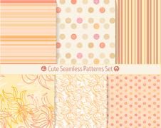 Cute hand-drawn seamless patterns. Endless texture for paper or scrap booking. - stock illustration