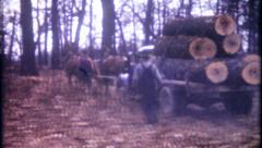 2639 - using horses to pull lumber trucks in forest - vintage film home movie Stock Footage