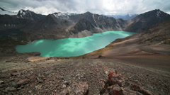 Ala Kul lake Tien Shan mountains Kyrgyzstan Stock Footage
