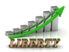 LIBERTY- inscription of gold letters and Graphic growth and gold arrows on wh - stock illustration