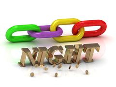 NIGHT- inscription of bright letters and color chain on white background - stock illustration