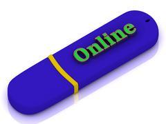 Stock Illustration of Online - inscription bright volume letter on USB flash drive on white backgro