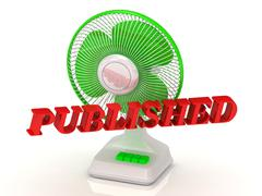 PUBLISHED- Green Fan propeller and bright color letters on a white background Stock Illustration