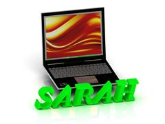 SARAH- Name and Family bright letters near Notebook and  inscription Dating o - stock illustration