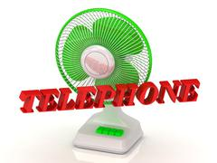 TELEPHONE- Green Fan propeller and bright color letters on a white background Stock Illustration