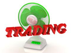 TRADING- Green Fan propeller and bright color letters on a white background - stock illustration