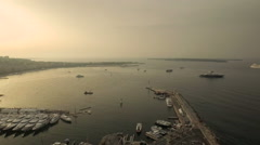 Cannes Aerial over boat harbor panning left - stock footage