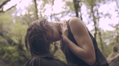 Model Poses In Nature, Flips Hair Back, Beautiful/Dreamlike (Slow Motion) - stock footage