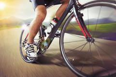 Mountain bike runs fast Stock Photos