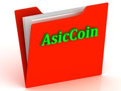AsicCoin- bright green letters on a gold folder on a white background - stock illustration