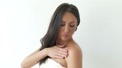 4K Sexy Woman Bare Shoulders   Beauty care Applying Body Milk Stock Footage